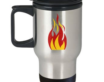 Campfire Flame Tent Camping Fishing Hunting Relaxation Outdoorsman Gift Insulated Stainless Steel Travel Coffee Mug With Lid