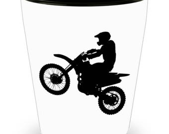Shot Glass Motorcycle Rider! Biker Accessory, Rider Gift /  Black Ink Drawing of Dirt Bike on White Ceramic Shot Glass Gift!