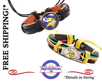 MiNNeSOTA Football LEATHER BRaCELET, Adjustable, 2 Designs, **FAST & FReE SHiPPiNG**