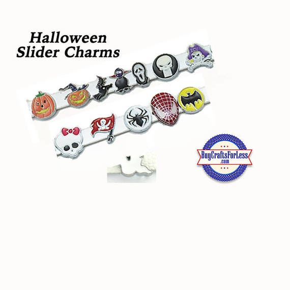 HALLOWEEN SLiDE 8mm Charms, for Slide Bracelets, Collars, Key Rings, 13 Styles! +FREE Shipping & Discounts*