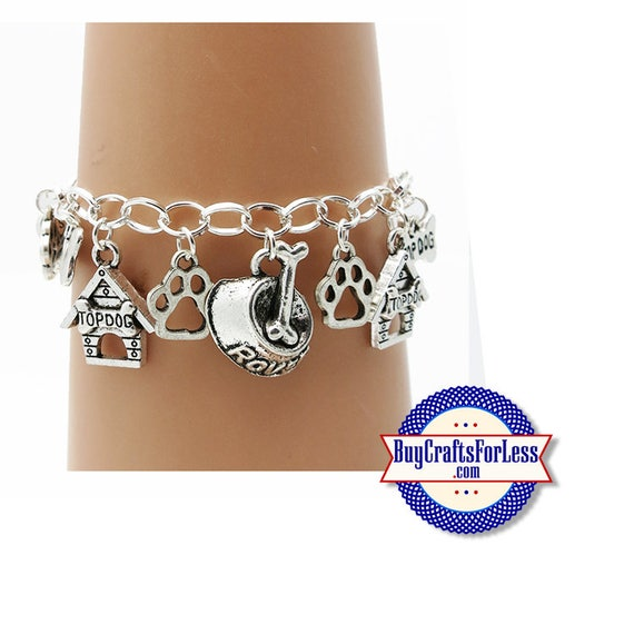 "DOG Charm BRACELET, Silver Plated, 7""-8"" +FREE SHiPPiNG & Discounts*"