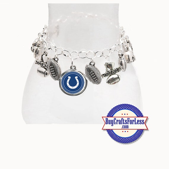 INDIANOPOLIS Football CHARM Bracelet, Silver Plated  **FREE U.S. SHiPPiNG**