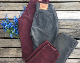Lot of 2 Levi's Corduroy Vintage Pants Size 10 12 31 32