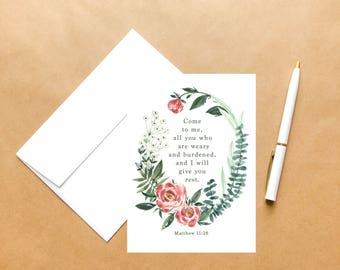 Matt. 11:28 Rest   Sympathy Greeting Card