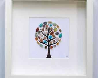 Pebble Art, Wishing Tree, Tree of Life, Gift for Friend, Birthday Gift, Gift for Mum, Home Decor, Mixed Media Art, Far Far Away Art