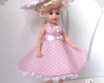 Little Miss Revlon Doll dress. Pink dress with white polka dots, hat with white lace trim.