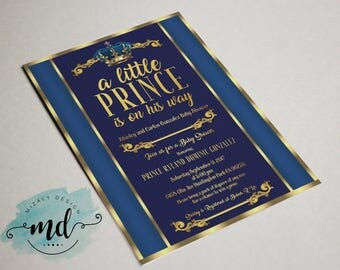 A little prince baby shower Printable Invitation (color editable)