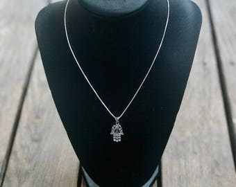 "Sterling Silver Hamsa 16"" Necklace"