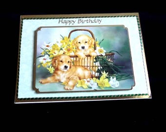 Happy Birthday Card, Puppies in a Basket, Easter Card, Mother's Day Card, Personal Card if Required, Any Age Male or Female,
