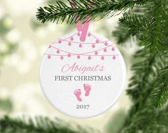Baby's First Christmas Ornament | Personalized Baby Ornament | Baby Gift | Baby Girl Ornament | Baby Boy Ornament | Newborn Ornament | 2017