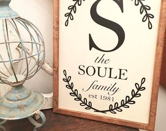 Wood Farmhouse Sign, Family Name Established, Wooden Established Sign Family Name, Wood Est Name Sign,