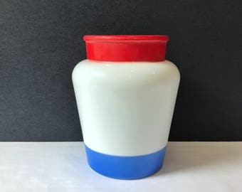 Red White & Blue Glass Vase - Painted Vintage Milk Glass / Independence Day / Fourth of July / Planter / Utensil Holder