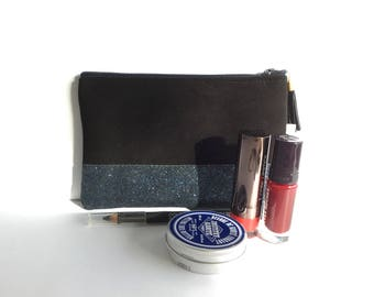 Makeup/pouch in black and blue glitter case