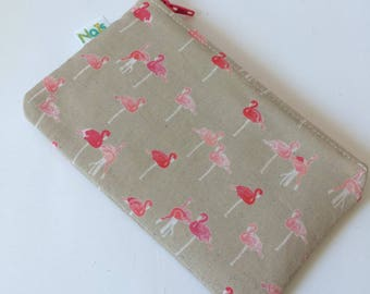 Glasses case / cosmetic pink flamingos pattern