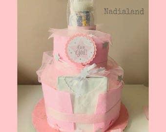 Diaper cake-Baby birth gift-Babyshower decoration-diaper cake-birth basket-rose birth cake-Pink Centerpiece