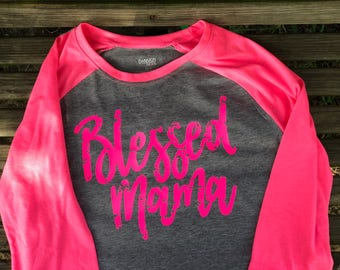 Blessed Mama Hot Pink and grey tee Size Small R2S