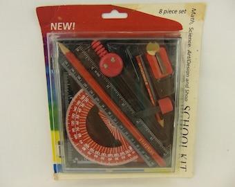 1992 Staedtler 8 Piece School Kit Math Science Art Design and Shop