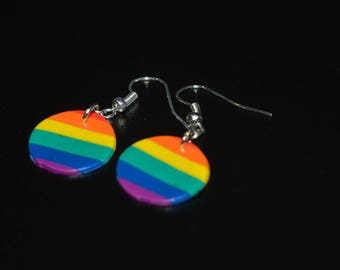 Earrings in polymer clay round Rainbow
