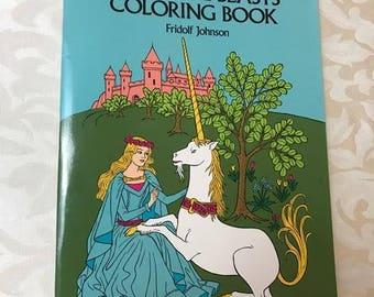 Vintage Mythical Beasts Coloring Book, Fridolf Johnson, 1976. Unicorns, Dragons, Fantasy, Mermaids, Unused, Dover