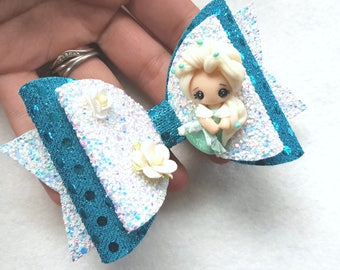 Blue princess hair bow, Blue princess hair clip, girls hair accessories