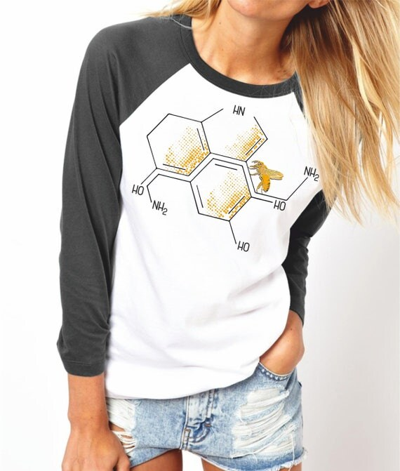 Nectar of Life   Unisex Raglan Shirt   3/4 sleeves   Basketball shirt   Geek T-shirt   Chemistry Tee   Shirt for her / him   Honeycomb  