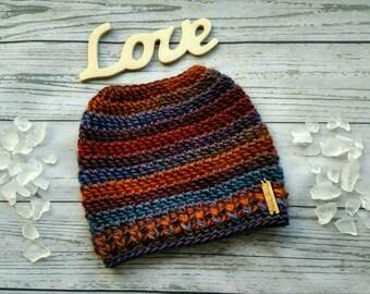 Knit Messy bun hat, Striped Bun Beanie, Colorful Ponytail Hat, Crochet Pony tail Beanie, Open Top Winter Hat, Bun Toque, Woman's Knit Hat,