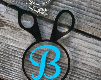 Personalized Beautician Scissors Keychain