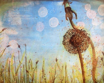 Giclee print of original acrylic painting of a dandelion.  A3 (297 x 420 mm)