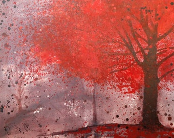 Giclee print of original acrylic painting of tree
