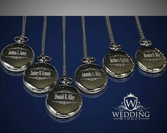 7 Personalized Pocket Watches - Groomsman engraved gifts - Personalize gift - Wedding gift - Best Man & Man of Honor gift - Engrave gift set