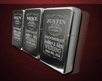 3 Engraved lighters - Custom engraved refillable lighter in box - Personalized Groomsmen gift - Laser engraved custom wedding gift set