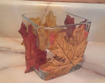 Fall leaf candleholder
