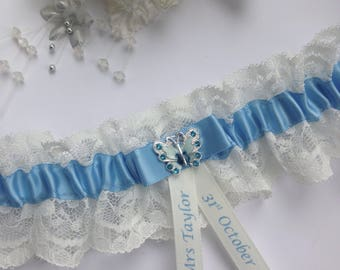 Personalised Wedding Garter,something blue and ivory with butterfly charm, available in S/M & Plus size/Large