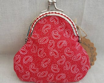Red Paisley Kiss Clasp Coin Purse/Change Purse