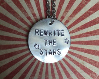 The Greatest Showman Rewrite The Stars Hand-Stamped Metal Necklace