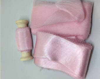 hand dyed silk ribbons in palest peony pink