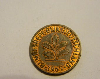 1965 Germany 2 Pfennig Bronze Vintage Coin Beautiful Five Oak Leaves #116