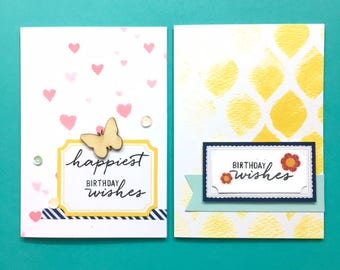 C035 - Handmade Happy Birthday Floral, Butterfly, Hearts Greeting Note Cards - Set of 2