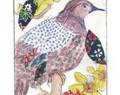 original printmaking etching, , chiné collé ,eaux forte  gravure originale L'oiseau étrange 2 sur 30
