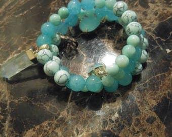 Spring aqua Wrap Bracelet