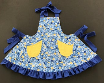 Little Girl's Apron, Girl's Apron, Bib Apron, Blue & Yellow Print Apron, Kid's Apron, Ruffled Apron, Size 5/6 Apron, Floral Print Apron