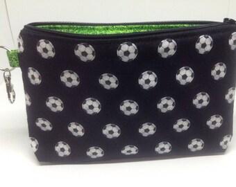 Soccer Balls Zipper Pouch ~ Cosmetics Bag ~ Pencil Pouch ~ Wristlet ~ Essentials Pouch