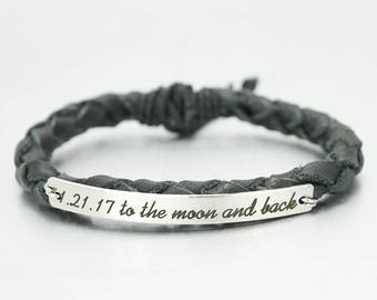 To the Moon and Back Bracelet, Special Date Bracelet, Engraved Bracelet, Leather Braided Bracelet, Gift for Daughter, Mom, Wife, Boyfriend
