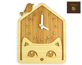 CAT & BIRD - Bamboo Wall Clock