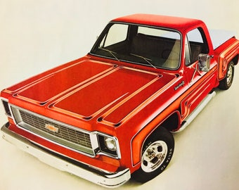 """73 Chevy Stepside truck ad two pages 16"""" x 11"""""""