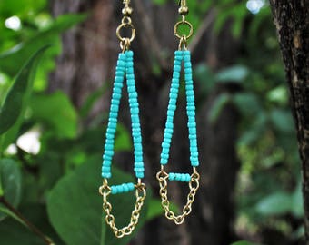 Geometric Turquoise Align All Chakra Earrings with Gold Chain