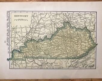 Vintage kentucky map Etsy
