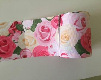 Ribbon flower 3D roses grosgrain Ribbon