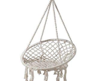 Hanging macrame chair, Round hammock outdoor indoor dormitory bedroom children's swing bed Swinging hanging chair hammock white and black