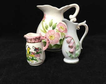Vintage Pitchers in Pink Collection, Set of 3